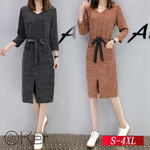 長袖顯瘦中長款針織毛衣裙子S-4XLO-Ker歐珂兒158670