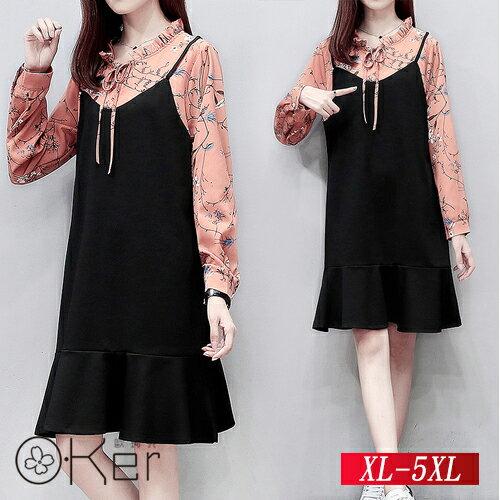 秋季新款寬鬆長袖拼接連衣裙XL-5XLO-Ker歐珂兒158691-C