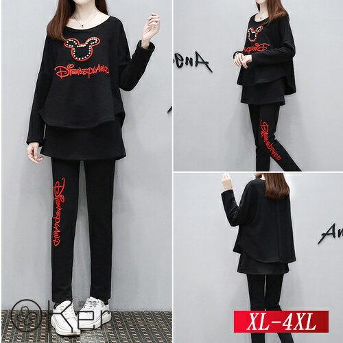 寬鬆時尚休閒蝙蝠袖上衣+假兩件裙XL-4XLO-Ker歐珂兒158712-C