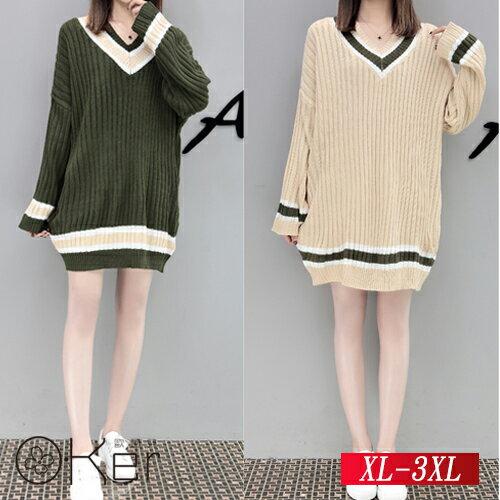 寬鬆學院風條紋套頭針織衫XL-3XLO-Ker歐珂兒158740-C