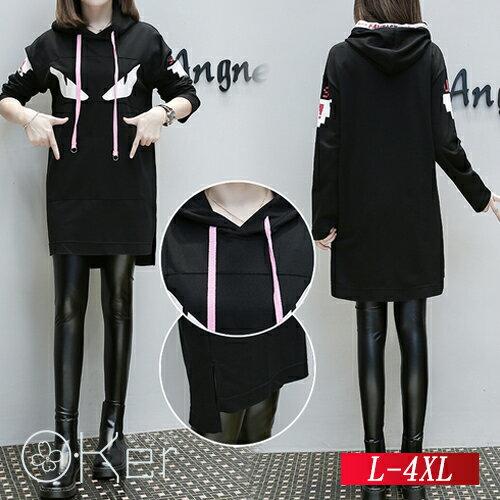 寬鬆顯瘦印花拼接連帽連衣裙L-4XLO-Ker歐珂兒158805-C