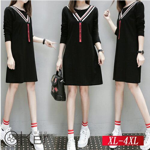 學院風雙線V領寬鬆顯瘦純棉洋裝 XL~4XL O~Ker歐珂兒 159002