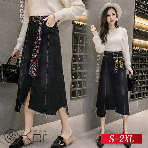 百搭高腰時尚牛仔裙半身裙S-2XLO-Ker歐珂兒159901-C