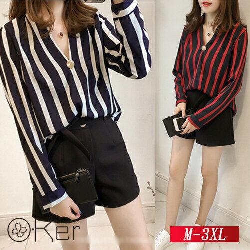 寬鬆大碼V領條紋襯衫M-3XLO-Ker歐珂兒159941-C