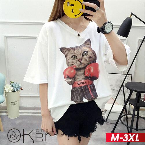 拳擊小貓圖案V領T恤M-3XLO-ker歐珂兒163397