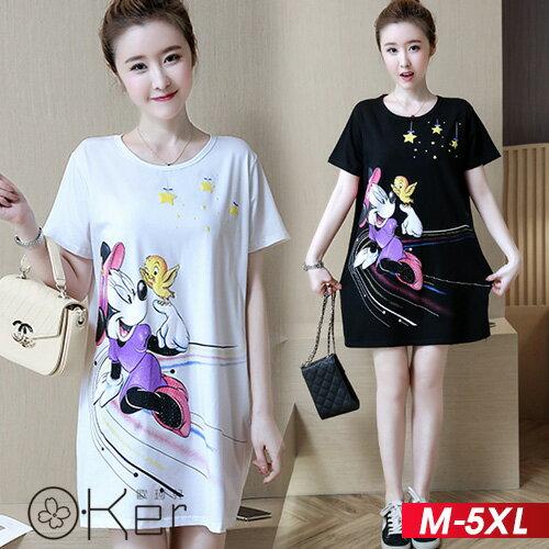 卡通老鼠短袖長版T恤M-5XLO-ker歐珂兒163723