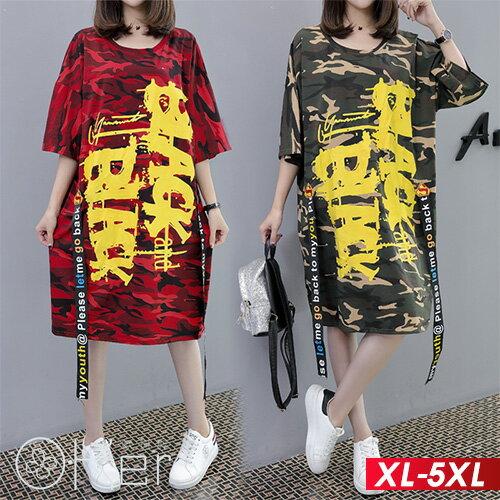 迷彩字母中長款T恤XL-5XLO-ker歐珂兒168773
