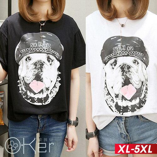 可愛狗狗印花短袖T恤XL-5XLO-ker歐珂兒168813