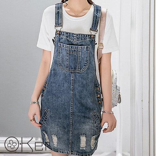 復古刷破高腰側排釦牛仔吊帶褲 連身褲 O-Ker LL60190-C