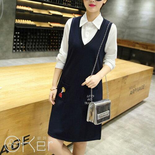 口袋小女孩可愛風襯領兩件套裝連身裙 O~Ker歐珂兒 LL65124~c ~  好康折扣