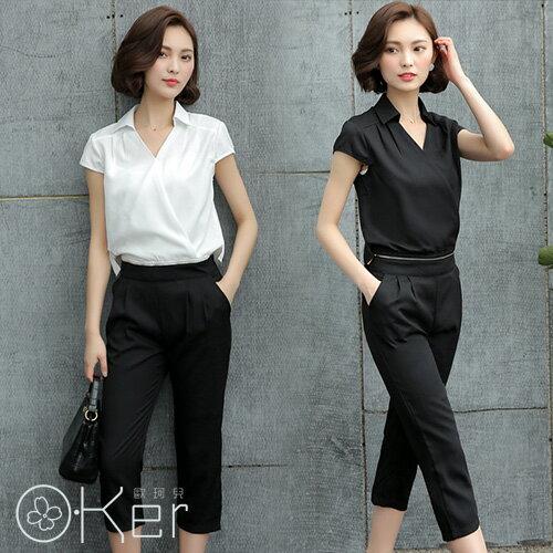 職場時尚OL短袖七分褲顯瘦可拆兩件式套裝O-Ker歐珂兒LL67119