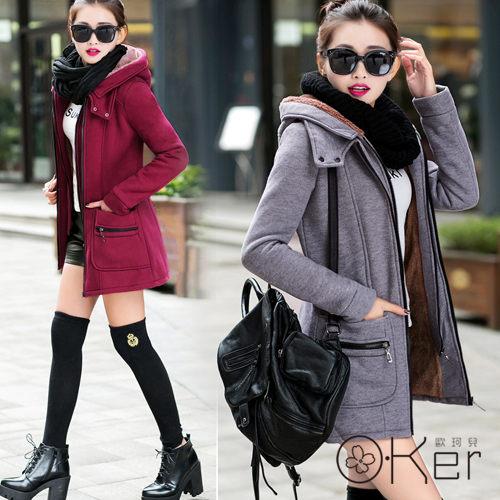 冬季大碼顯瘦剪裁加絨保暖聯貿雙層拉鍊口袋長版外套O-KerLL10161(尺寸偏小,請拿大一號)-C