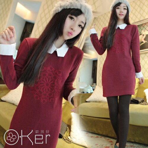 優雅氣質假兩件刺繡翻領洋裝_白領款 O~Ker LL83102