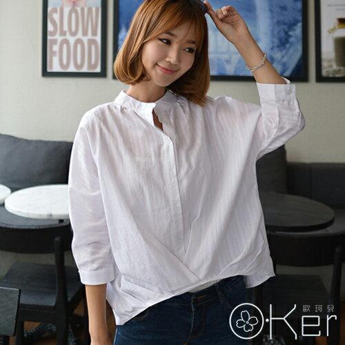韓風氣質簡約設計感立領純白襯衫大尺碼顯瘦 O-Ker LL99107