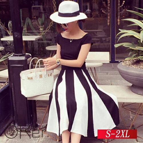 名媛氣質繫帶短袖上衣 修身顯瘦條紋裙子 S~2XL O~Ker歐珂兒 138066~1 版