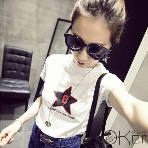 2016春裝新款女裝五角星簡約修身短袖T恤 O-Ker 歐珂兒 UA597