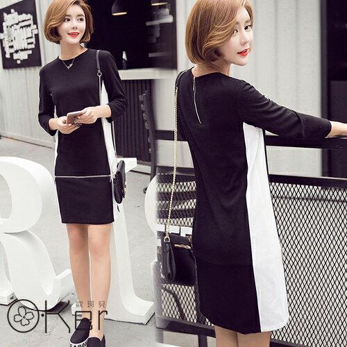 極簡風格黑白拼色拉鍊墜飾細針織圓領洋裝 韓國原單 O~Ker VE1015~c