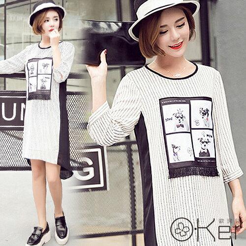 俏皮狗狗圖樣短流蘇厚雪紡拼接直條紋洋裝 韓國原單 O-Ker VE1020
