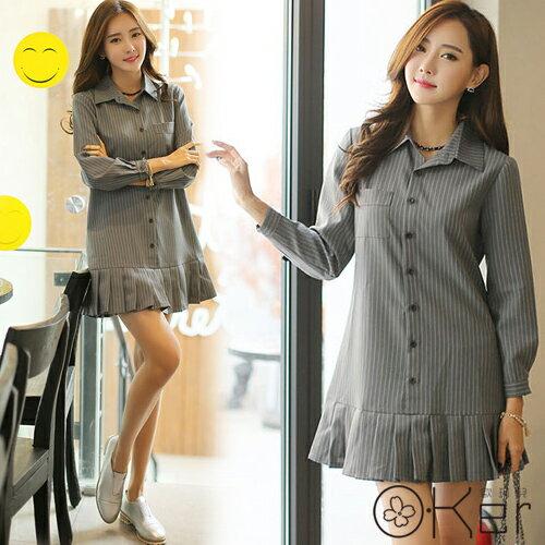知性氣質直條紋翻領修身A字百摺洋裝優雅顯瘦韓國原單O-KerVE7412