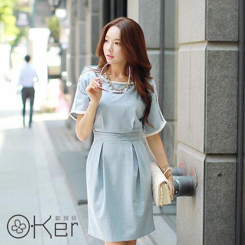 韓國原單 水洗牛仔藍色棉麻修身連衣裙 O~Ker VE7819