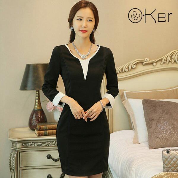 正韓V領連身裙中大尺碼雙色拼色O-Ker8000