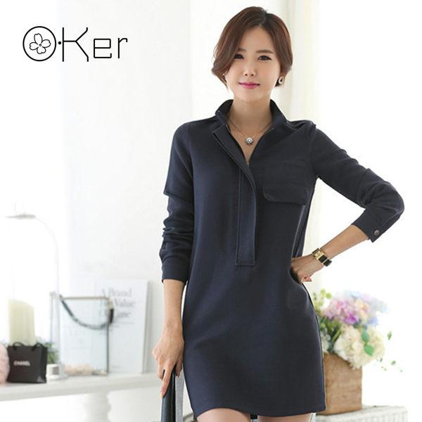 正韓立領連身裙素面知性優雅中大尺碼O-Ker 7901