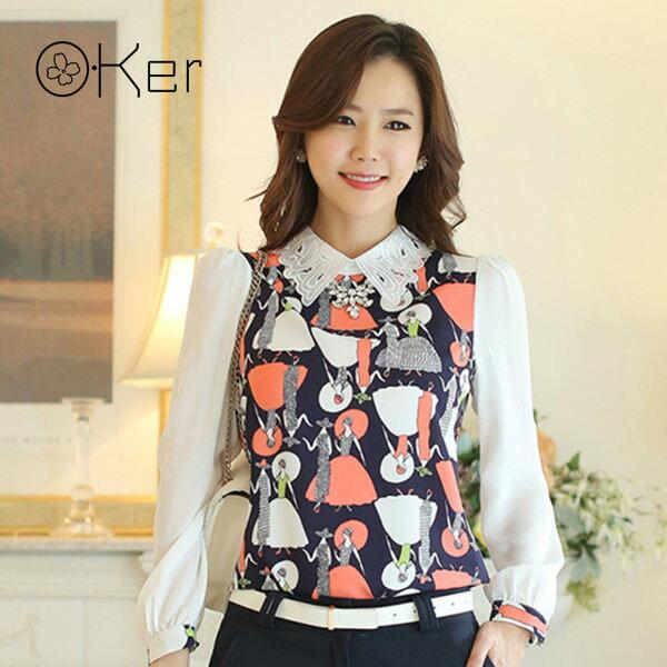韓國原單-職場氣質雪紡上衣蝴蝶印花中尺碼女裝O-Ker7619
