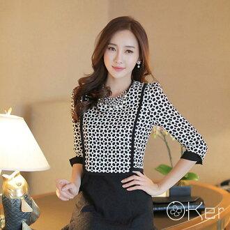 O-Ker 日韓清新洋裝假兩件格紋七分袖連身裙7081