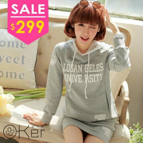 韓版休閒網狀連帽長袖上衣短裙套裝 O-Ker KK3689