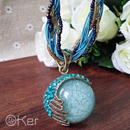 歐美復古波西米亞風月亮灣藍寶石項鍊 X0441