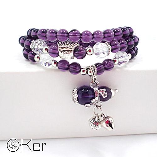 天然紫水晶幾何形多層次手鍊O-KerS406
