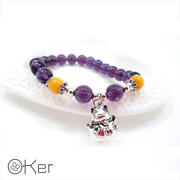 天然紫水晶招財貓手鍊 S403