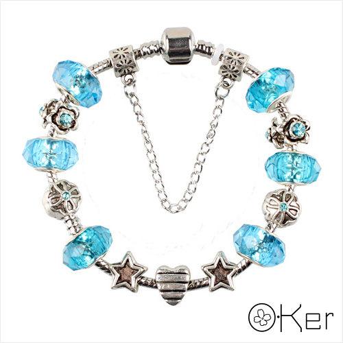潘多拉風格時尚琉璃串珠手鏈-星星花朵系列(天藍色)18cm