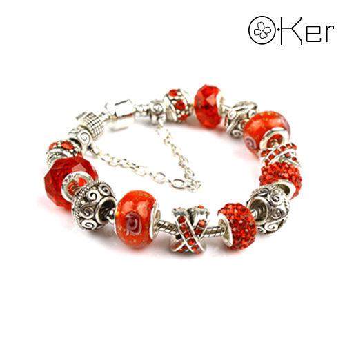 潘朵拉風格時尚琉璃串珠手鏈-華麗鑲鑽系列(紅色)18cm