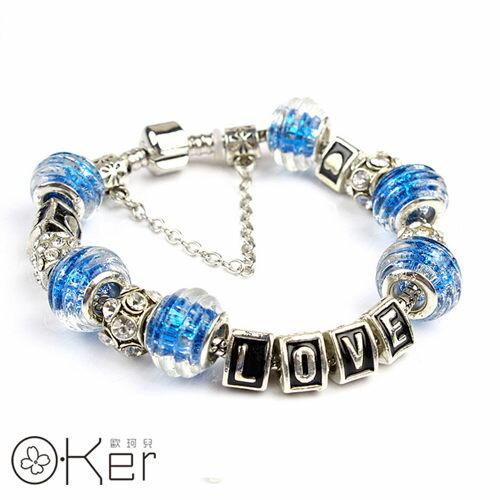 潘朵拉風格時尚琉璃串珠手鏈18cm-LOVE系列