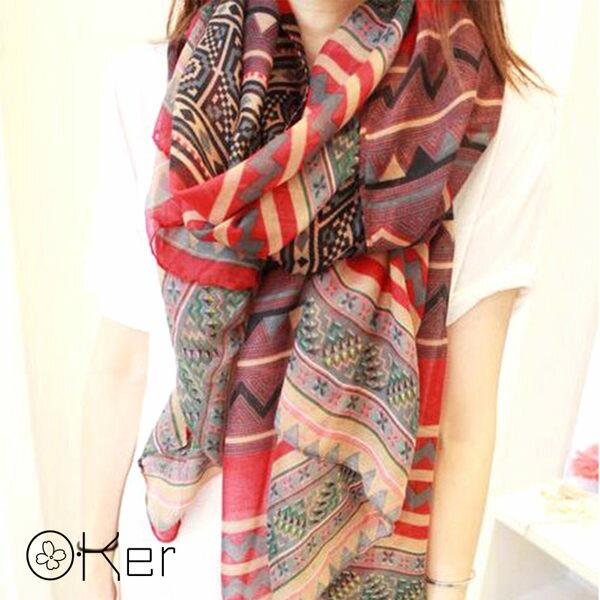 大紅民族風保暖圍巾披肩絲巾 O-Ker W24