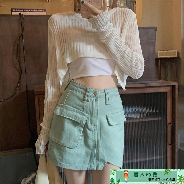 疊穿上衣 SEOUL韓風chic復古甜美洋氣減齡百搭疊穿鏤空短款防曬罩衫上衣女   免運-品質保證 快速出貨 限時下殺85折起