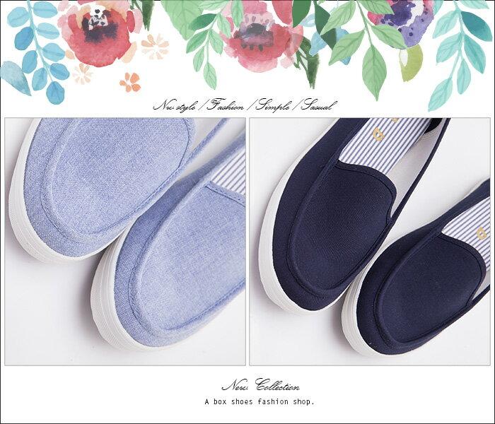 格子舖*【KBC639】MIT台灣製 簡約經典帆船造型 舒適牛仔布面/帆布鞋 懶人鞋 2色 2
