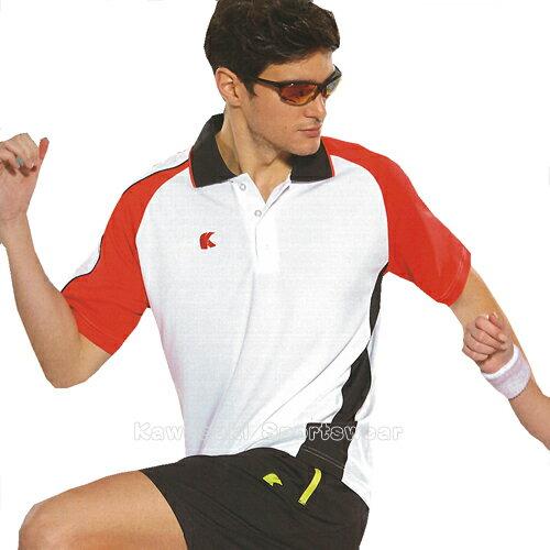 【日本Kawasaki】男女運動休閒吸濕排汗短POLO衫-白紅#K2238A(排汗衫)