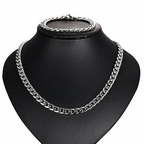 麻花鈦鋼項鍊+手鍊 組合價 時尚 男士飾品 禮物 百搭 沂軒精品 F0065