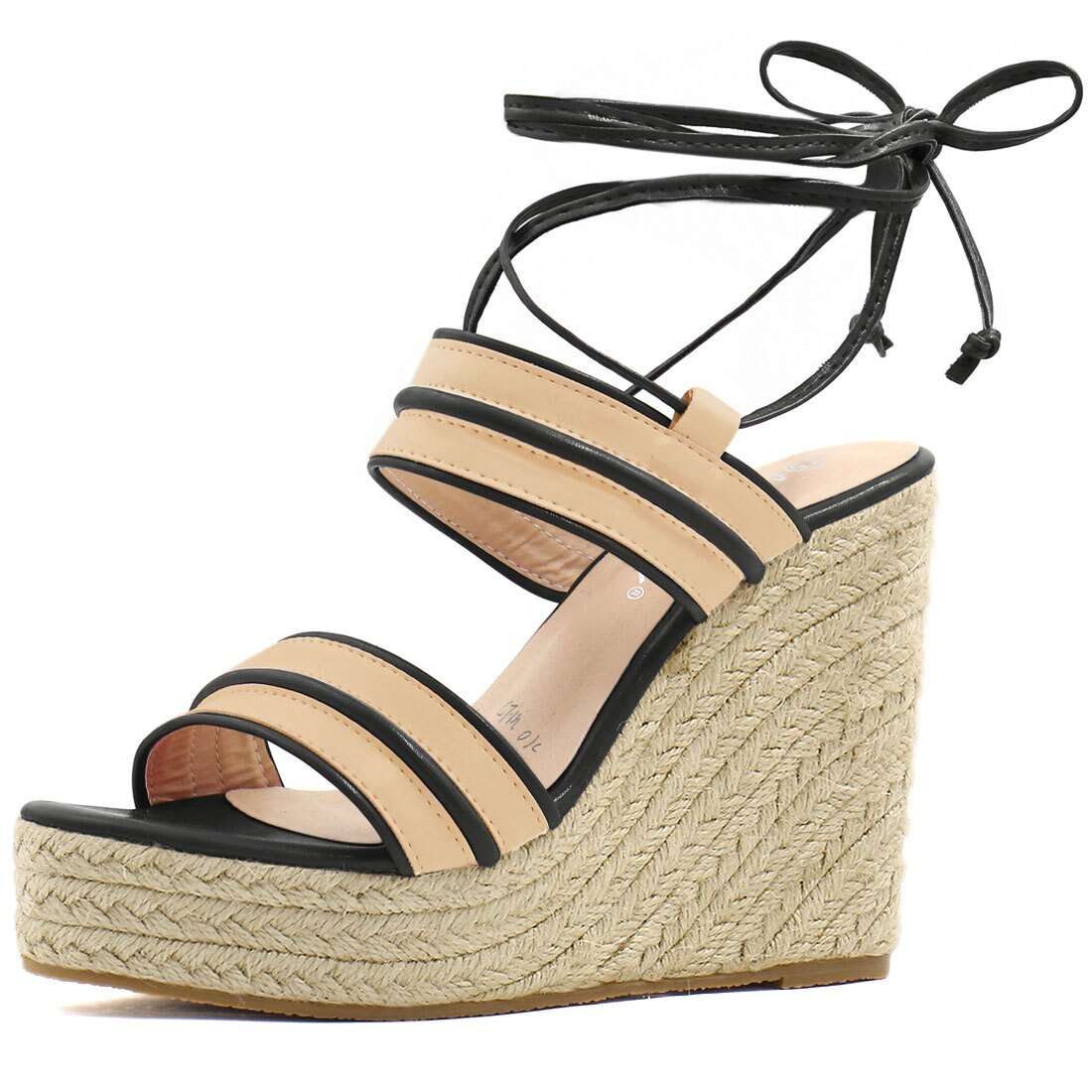 907d337c4540 Rakuten Home · Unique Bargains. 24-1  Women Striped Ankle Tie Espadrille  Wedge Sandals Apricot Black US 9