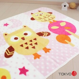 TOKYO西川 貓頭鷹童毯 粉
