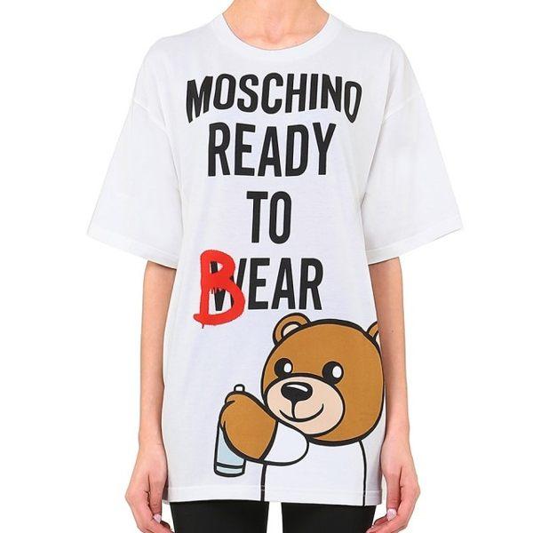 【MOSCHINO】熊熊圖案短袖棉T(白色) 0701 9140 1002