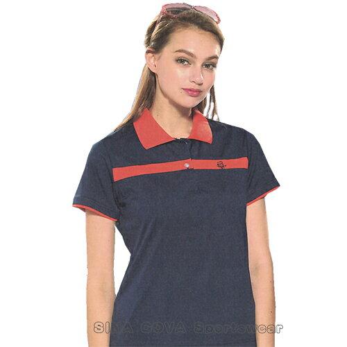 【義大利SINACOVA】女版運動休閒吸濕排汗短POLO衫-深藍#SW821A1