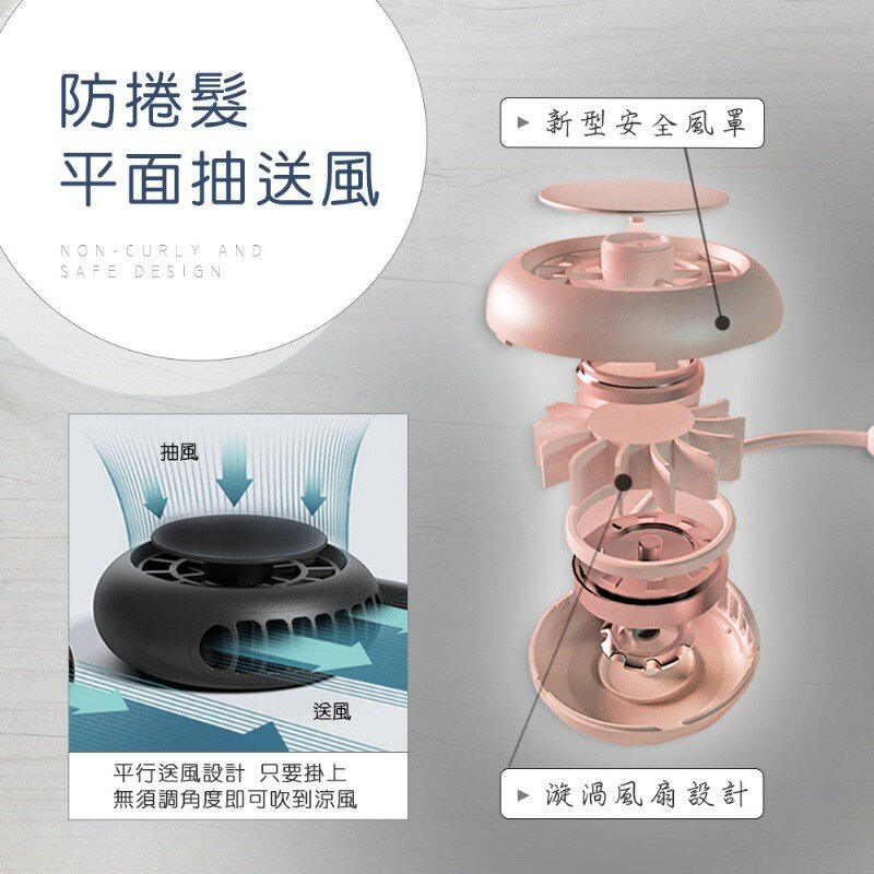 台灣設計公司貨 超涼風渦輪式新頸掛風扇 頸掛式風扇 掛脖風扇 掛頸風扇 手持風扇 電扇 桌扇 頸掛式風扇 6