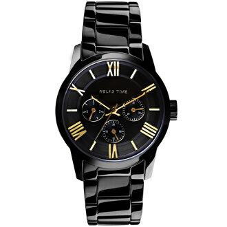 Relax Time RT-65-1M 對錶系列黑金時尚腕錶/黑面(大)45mm