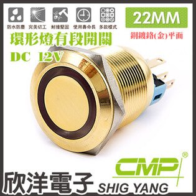 ※欣洋電子※22mm銅鍍鉻(金)平面環形燈有段開關DC12VSN2201B-12V藍、綠、紅、白、橙五色光自由選購CMP西普