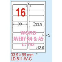 【龍德】LD-811(圓角) 平光防水高解析噴墨標籤 33.9x99mm 20大張/包