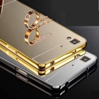 OPPO R7 手機殼 電鍍金屬邊框帶鏡面背板後蓋 歐普 R7 手機金屬保護套【預購】