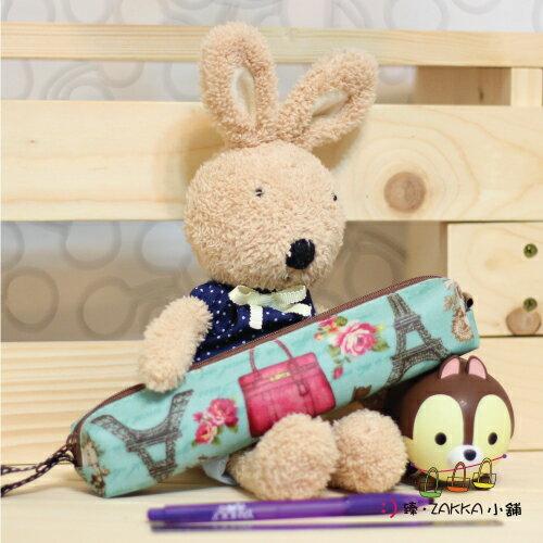Dolly club 朵莉俱樂部~~小圓筆袋~粉藍玫瑰鐵塔~~臻ZAKKA小舖~防水包包雜